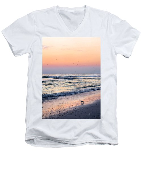 At Sunset Men's V-Neck T-Shirt by Angela Rath