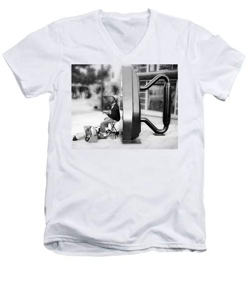 Atown Street Musician Men's V-Neck T-Shirt by Gray  Artus