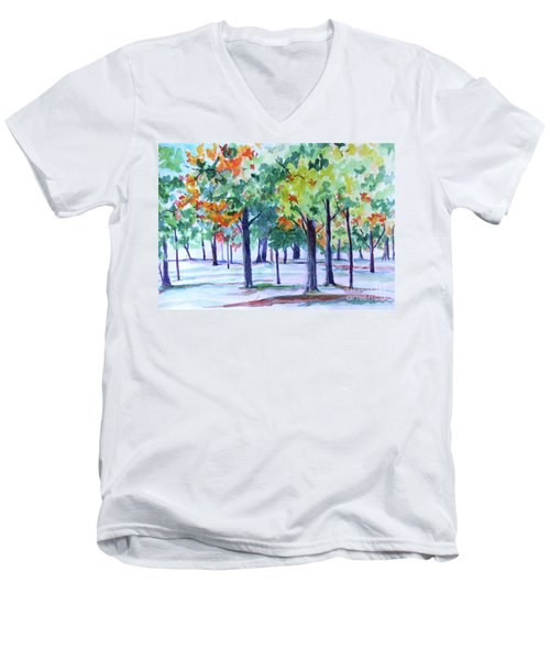 Autumn In The Park Men's V-Neck T-Shirt by Jan Bennicoff