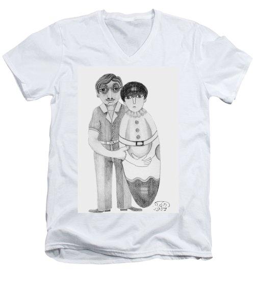 Babushka Men's V-Neck T-Shirt by Rachel Hershkovitz