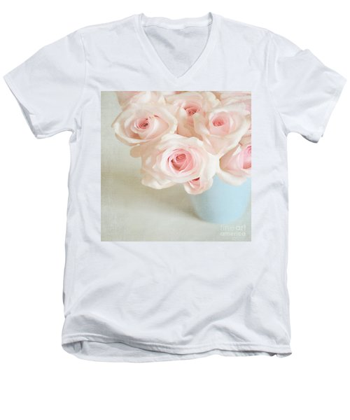 Baby Pink Roses Men's V-Neck T-Shirt by Lyn Randle