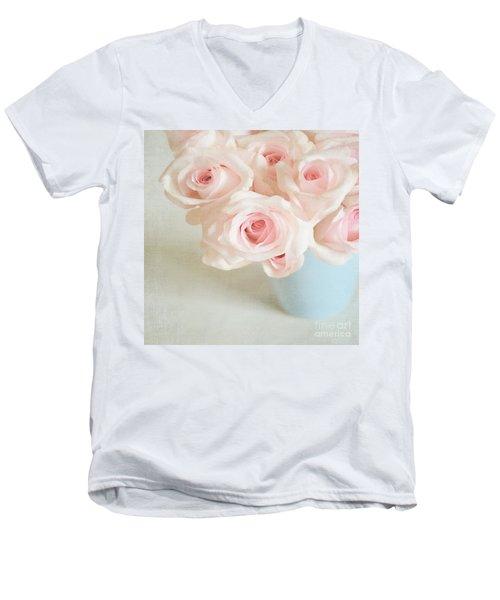 Baby Pink Roses Men's V-Neck T-Shirt