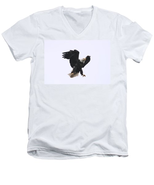 Men's V-Neck T-Shirt featuring the photograph Bald Eagle Tallons Open by Kym Backland