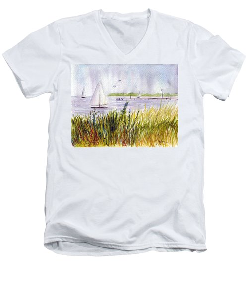 Men's V-Neck T-Shirt featuring the painting Barnegat Sails by Clara Sue Beym