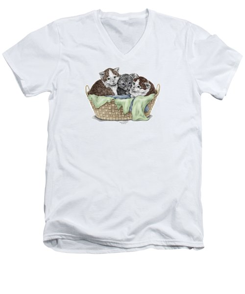 Men's V-Neck T-Shirt featuring the drawing Basket Of Kittens - Cats Art Print Color Tinted by Kelli Swan