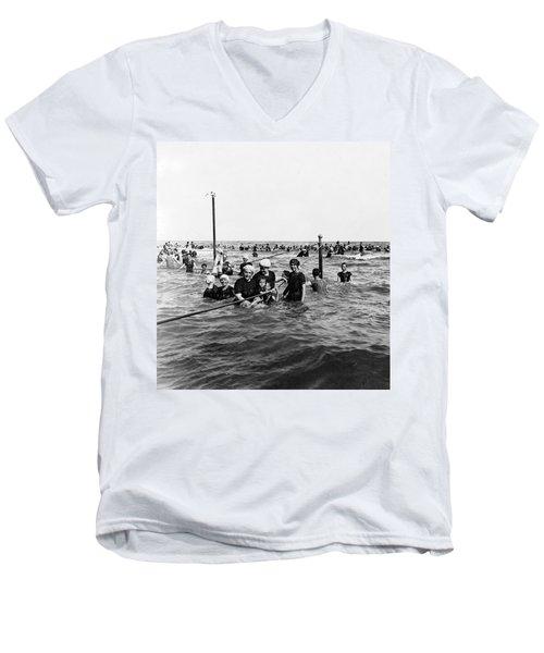 Bathing In The Gulf Of Mexico - Galveston Texas  C 1914 Men's V-Neck T-Shirt
