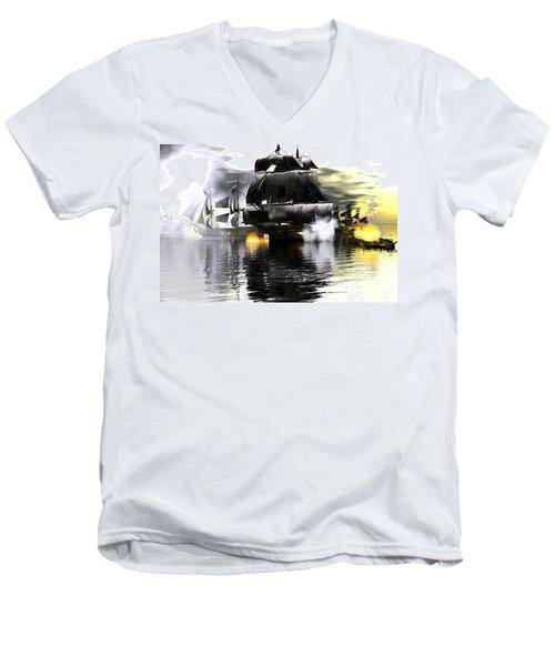 Men's V-Neck T-Shirt featuring the digital art Battle Smoke by Claude McCoy