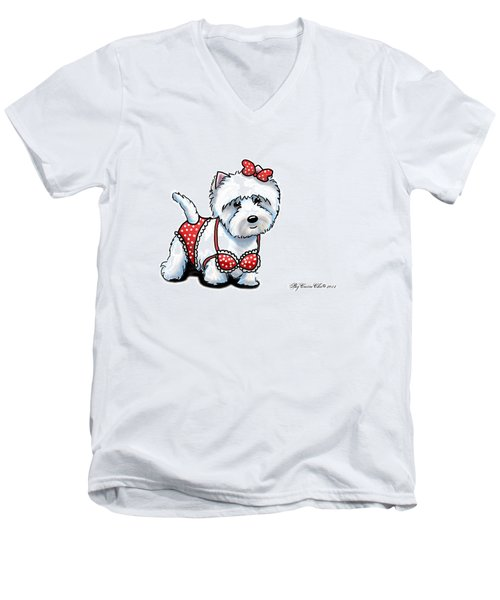 Beach Babe Westie Men's V-Neck T-Shirt