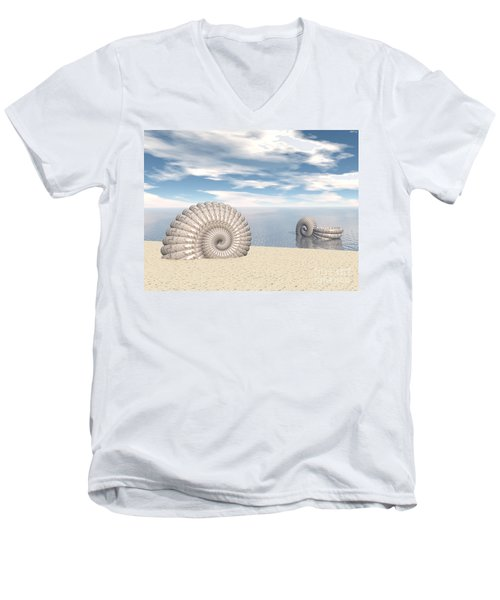 Men's V-Neck T-Shirt featuring the digital art Beach Of Shells by Phil Perkins