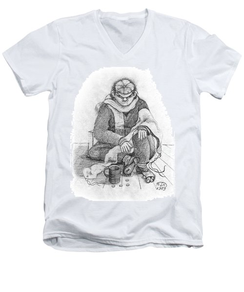 Beggar 2  In The  Winter Street Sitting On Floor Wearing Worn Out Cloths Men's V-Neck T-Shirt