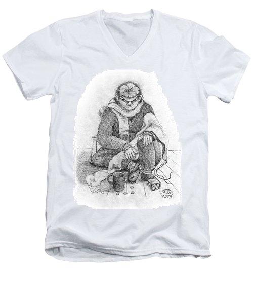 Beggar 2  In The  Winter Street Sitting On Floor Wearing Worn Out Cloths Men's V-Neck T-Shirt by Rachel Hershkovitz