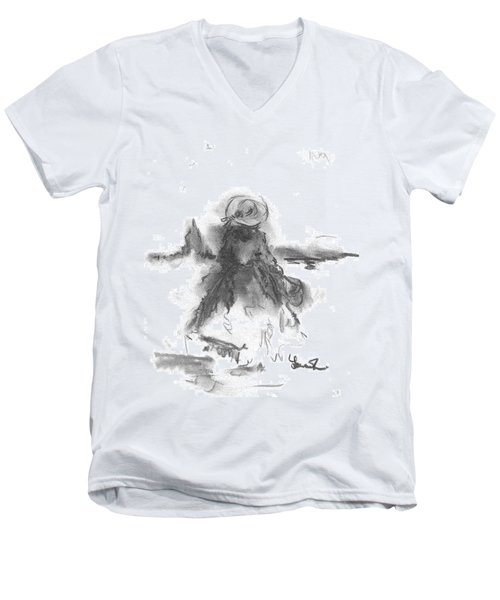 Men's V-Neck T-Shirt featuring the drawing Being Happy by Laurie L