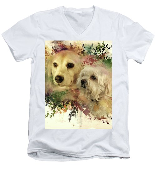 Men's V-Neck T-Shirt featuring the digital art Best Friends by Kathy Tarochione