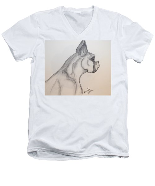 Men's V-Neck T-Shirt featuring the drawing Big Boxer by Maria Urso
