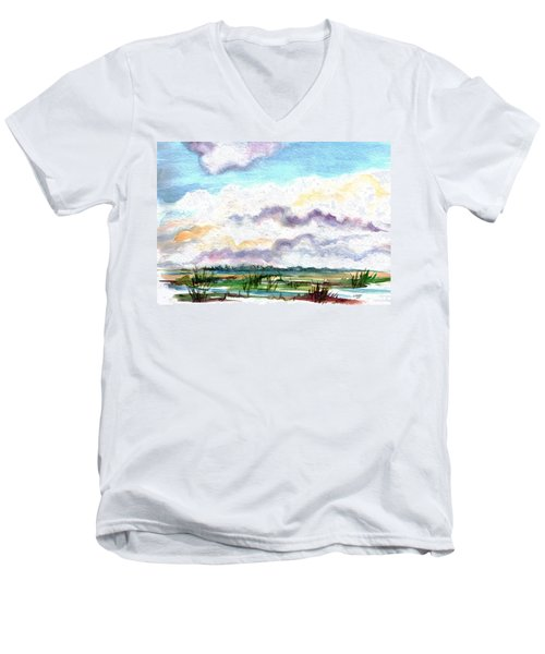 Men's V-Neck T-Shirt featuring the painting Big Clouds by Clara Sue Beym