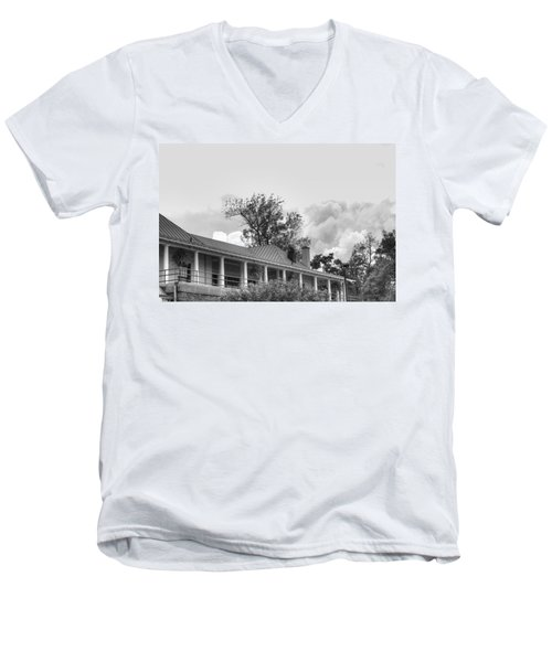 Men's V-Neck T-Shirt featuring the photograph Black And White Delaware Casino by Michael Frank Jr
