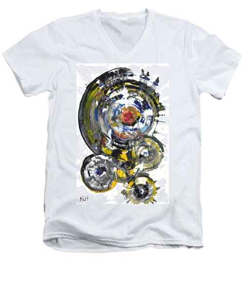 Men's V-Neck T-Shirt featuring the painting Black And White Shines Brightly  843.120911 by Kris Haas