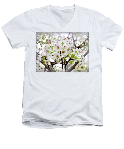 Men's V-Neck T-Shirt featuring the photograph Blooming Ornamental Tree by Kay Novy