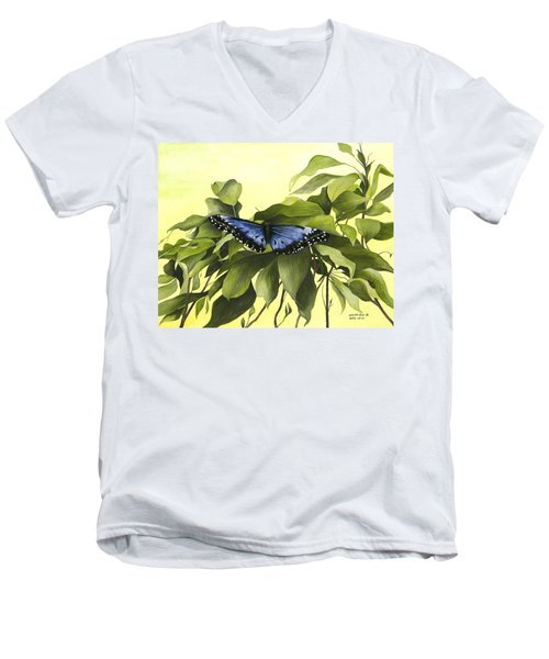Blue Butterfly Of Branson Men's V-Neck T-Shirt