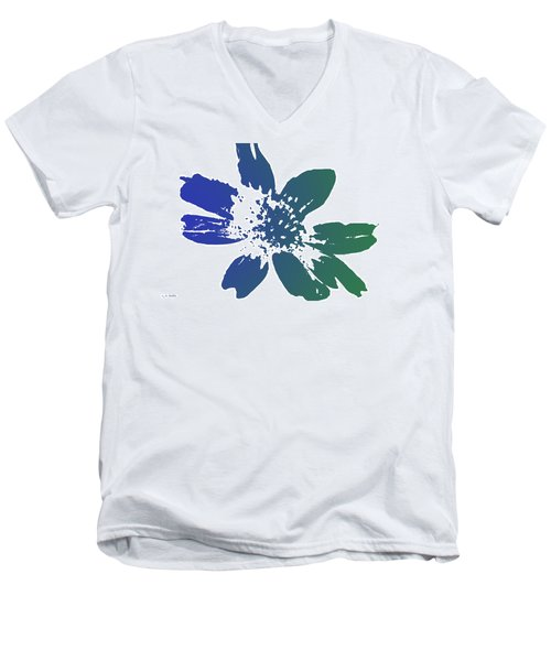 Men's V-Neck T-Shirt featuring the photograph Blue In Bloom by Lauren Radke