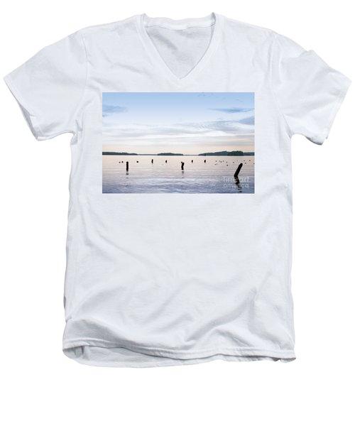 Men's V-Neck T-Shirt featuring the photograph Blue Lake Muskoka by Les Palenik