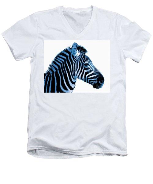 Men's V-Neck T-Shirt featuring the photograph Blue Zebra Art by Rebecca Margraf