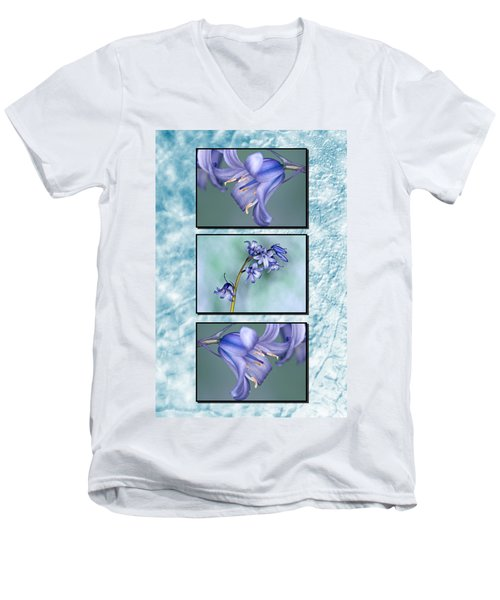 Men's V-Neck T-Shirt featuring the photograph Bluebell Triptych by Steve Purnell