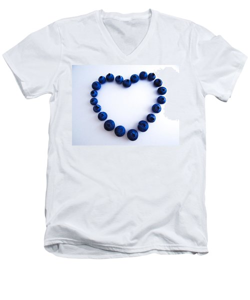 Men's V-Neck T-Shirt featuring the photograph Blueberry Heart by Julia Wilcox