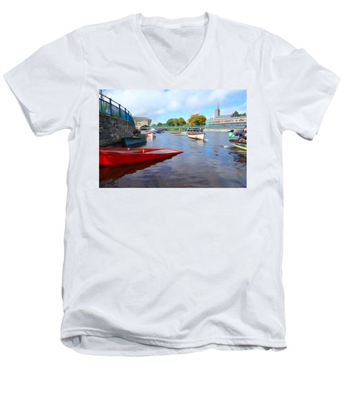 Men's V-Neck T-Shirt featuring the photograph Boats On The Garavogue by Charlie and Norma Brock
