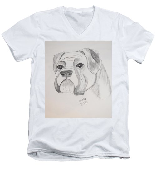 Men's V-Neck T-Shirt featuring the drawing Boxer No Crop by Maria Urso
