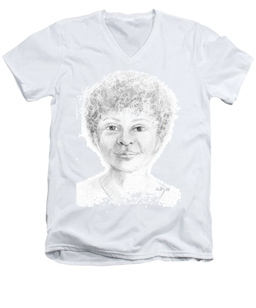 Boy Or Girl Woman Or Man African Or Asian Has Curly Hair Big Lips And A Big Head Men's V-Neck T-Shirt by Rachel Hershkovitz
