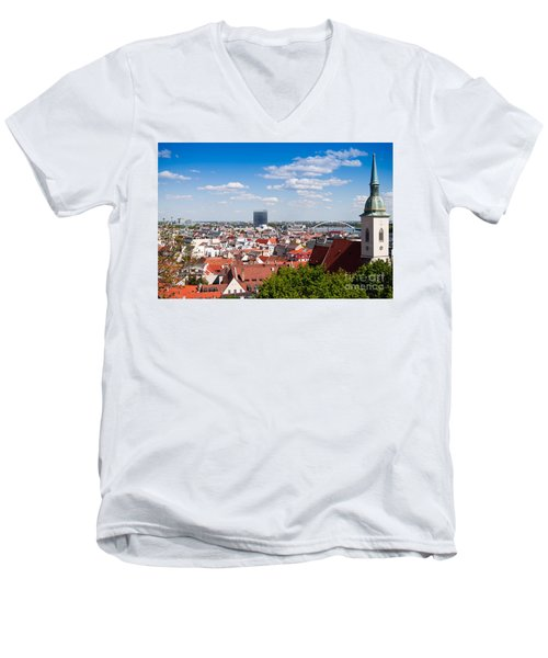 Men's V-Neck T-Shirt featuring the photograph Bratislava Roofs by Les Palenik