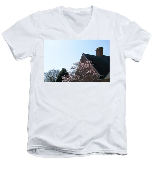 Men's V-Neck T-Shirt featuring the photograph Brick And Blossom by Pamela Hyde Wilson