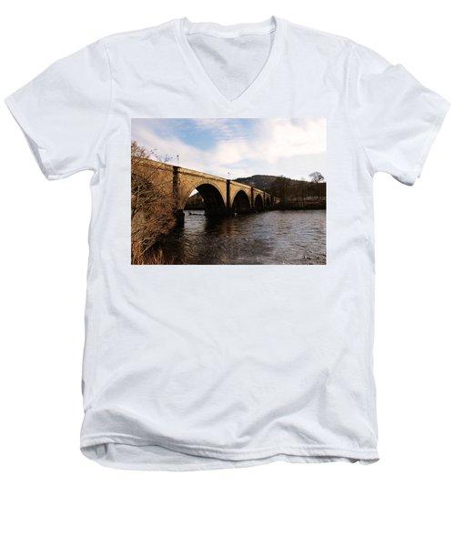 Men's V-Neck T-Shirt featuring the photograph Bridge Across River Tay by Lynn Bolt
