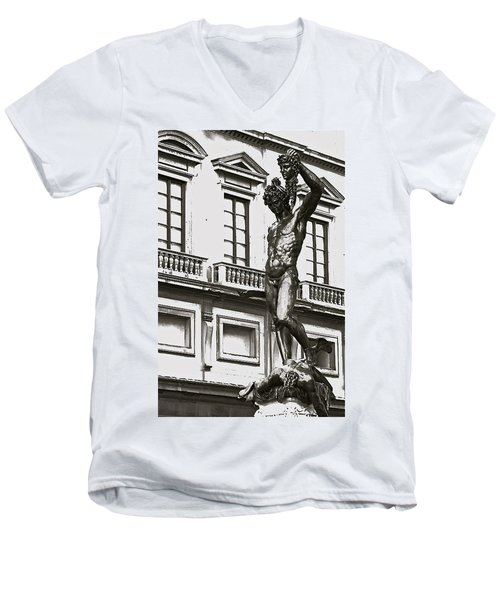 Men's V-Neck T-Shirt featuring the photograph Bronze Icon by Eric Tressler