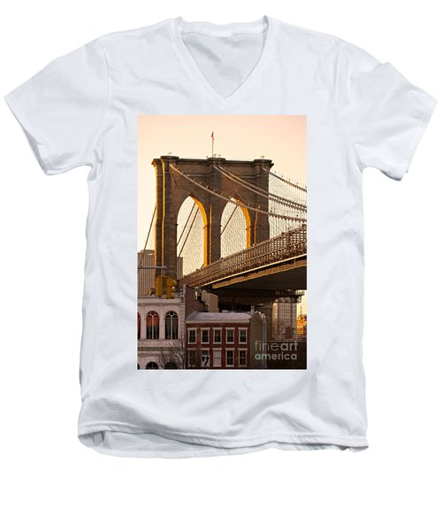 Men's V-Neck T-Shirt featuring the photograph Brooklyn Bridge - New York by Luciano Mortula