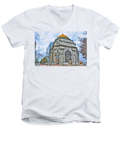 Men's V-Neck T-Shirt featuring the photograph Buffalo Savings Bank  Goldome  M And T Bank Branch by Michael Frank Jr