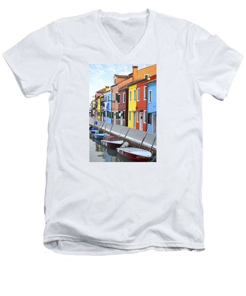 Men's V-Neck T-Shirt featuring the photograph Burano Italy 2 by Rebecca Margraf