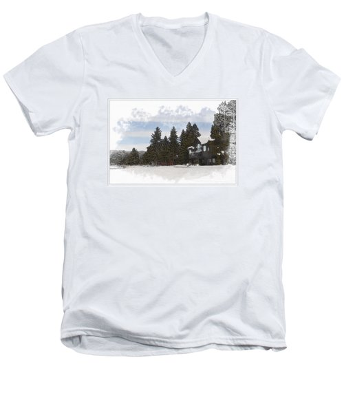 Cabin In Snow With Mountains In Background Men's V-Neck T-Shirt