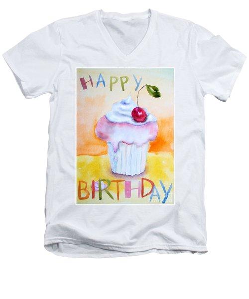 Cake With Insription Happy Birthday Men's V-Neck T-Shirt