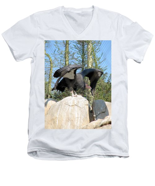 Men's V-Neck T-Shirt featuring the photograph California Condor by Carla Parris