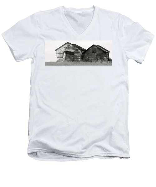 Men's V-Neck T-Shirt featuring the photograph Canadian Barns by Jerry Fornarotto