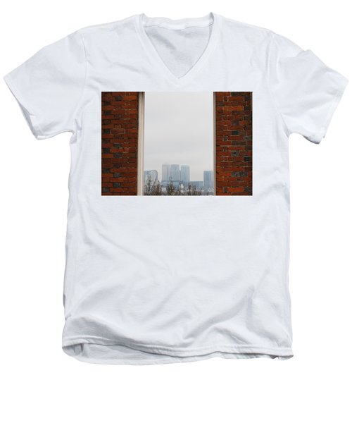 Men's V-Neck T-Shirt featuring the photograph Canary Wharf View by Maj Seda