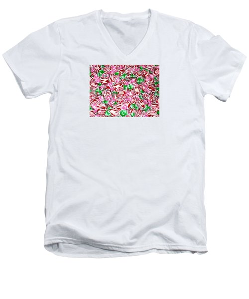 Men's V-Neck T-Shirt featuring the photograph Candy Is Dandy by Beth Saffer