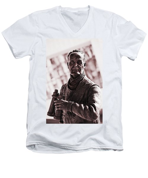 Captain F J Walker Men's V-Neck T-Shirt by Meirion Matthias