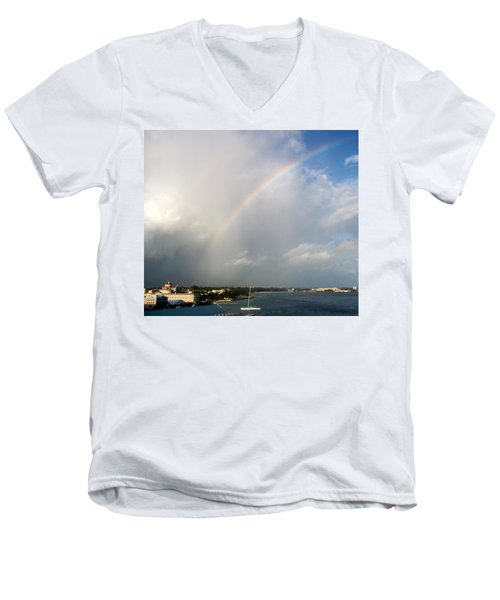 Men's V-Neck T-Shirt featuring the photograph Caribbean Rainbow by Cynthia Amaral