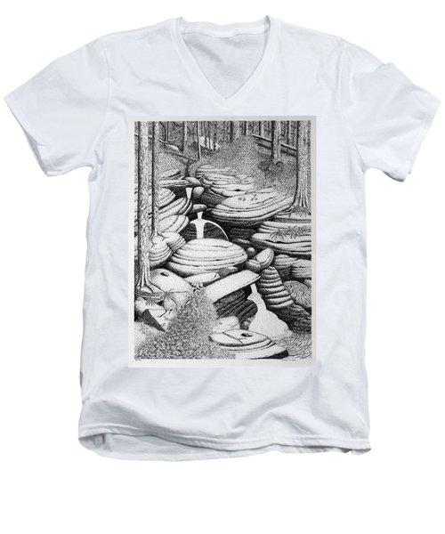 Men's V-Neck T-Shirt featuring the drawing Cascade In Boulders by Daniel Reed