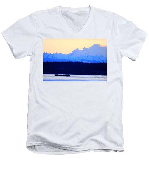 Washington Puget Sound Cascade Waterway Men's V-Neck T-Shirt
