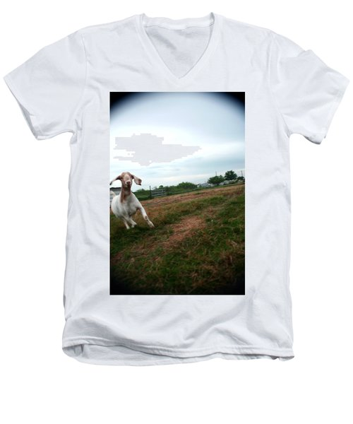 Men's V-Neck T-Shirt featuring the photograph Chased By A Crazy Goat by Lon Casler Bixby