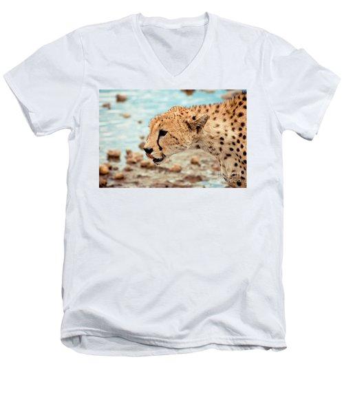 Cheetah Headshot Men's V-Neck T-Shirt by Darcy Michaelchuk